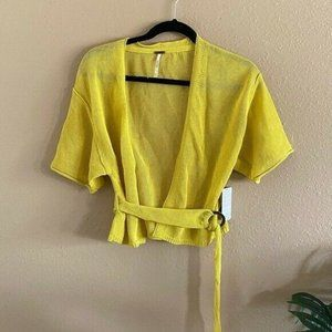 Free People Oh Hello Yellow Belted Wrap Sweater S